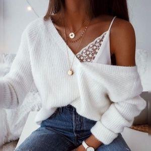 ❤️💜Off Shoulder White Sweater w/Ribbon Option
